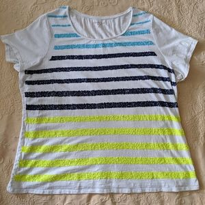 Sequin Coldwater Creek stripe tee 2x 20-22